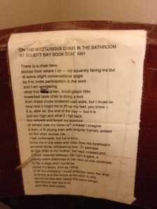 Poem on a bathroom chair