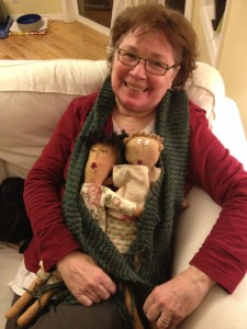 My BFF with the scarf and dolls she made for me.