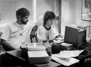 Cliff and Jan and the new Macintosh, 1984, Davis, California