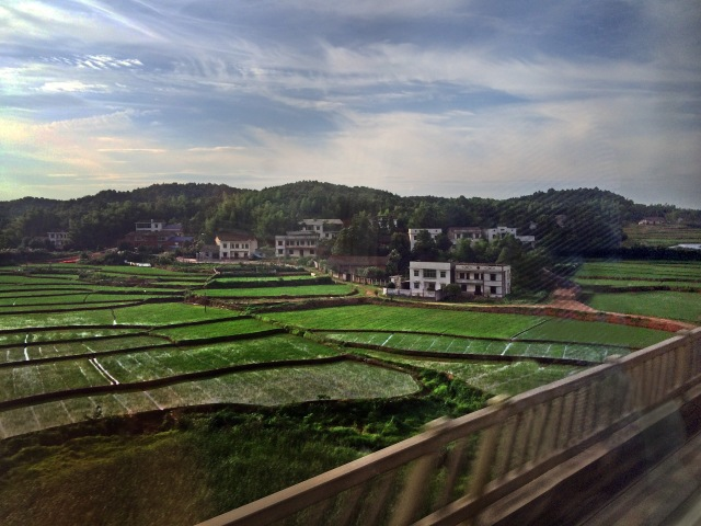 Rice fields and foothills give way to mountains on the way to Changsha on the fast train.