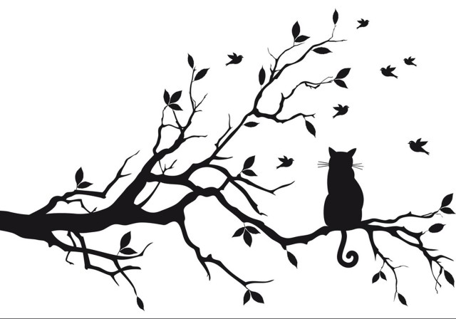 e-cat-sitting-on-tree-branch-vector-1188476